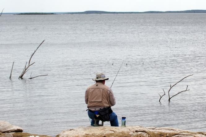 Pescando en la presa del Cuchillo
